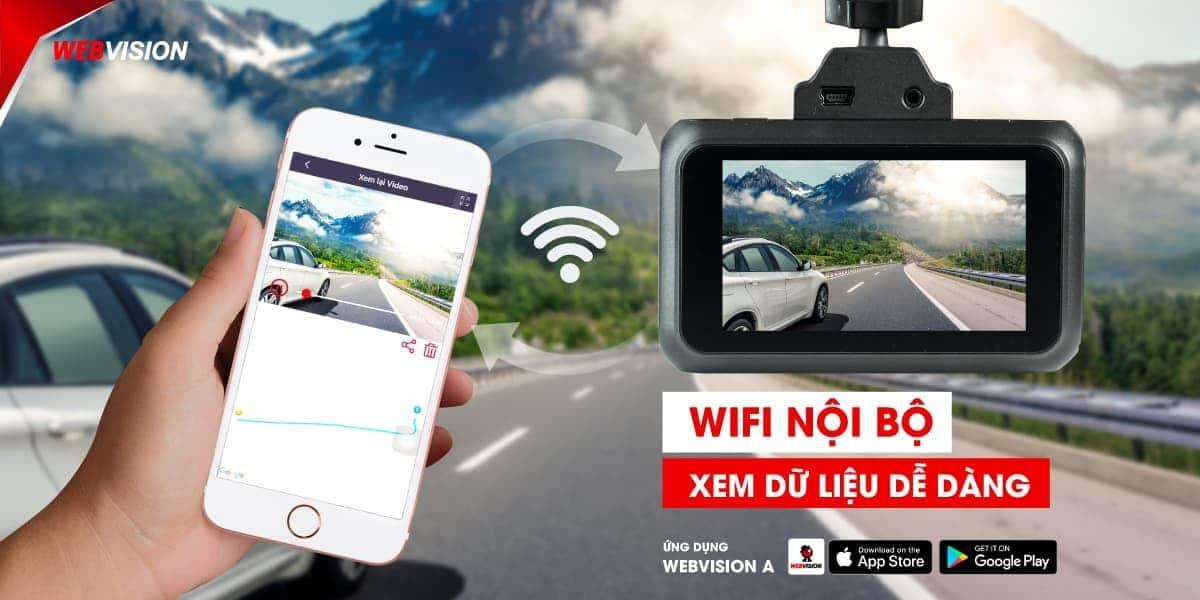 camera hanh trinh webvision A38 ket noi wifi