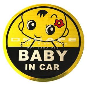 tem phan quang baby in car 11x11cm