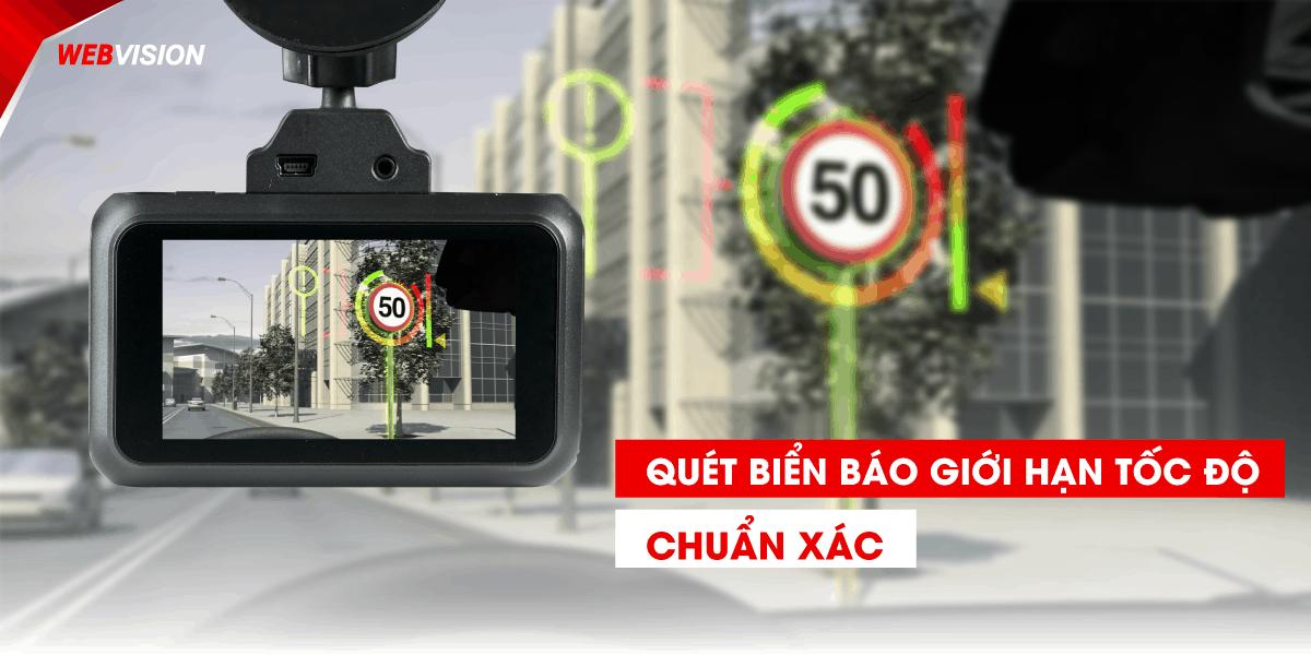 camera hanh trinh webvision A38 doc bien bao giao thong